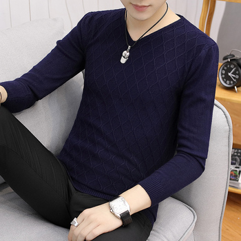 Cotton Sweater Men Long Sleeve Pullovers Outwear Man V-Neck sweaters Tops Loose Solid Fit Knitting Clothing 7Colors New rebicoo sweater men jumper acrylic fashion solid long sleeve hooded pockets tops sweater blouse outwear mens sweaters