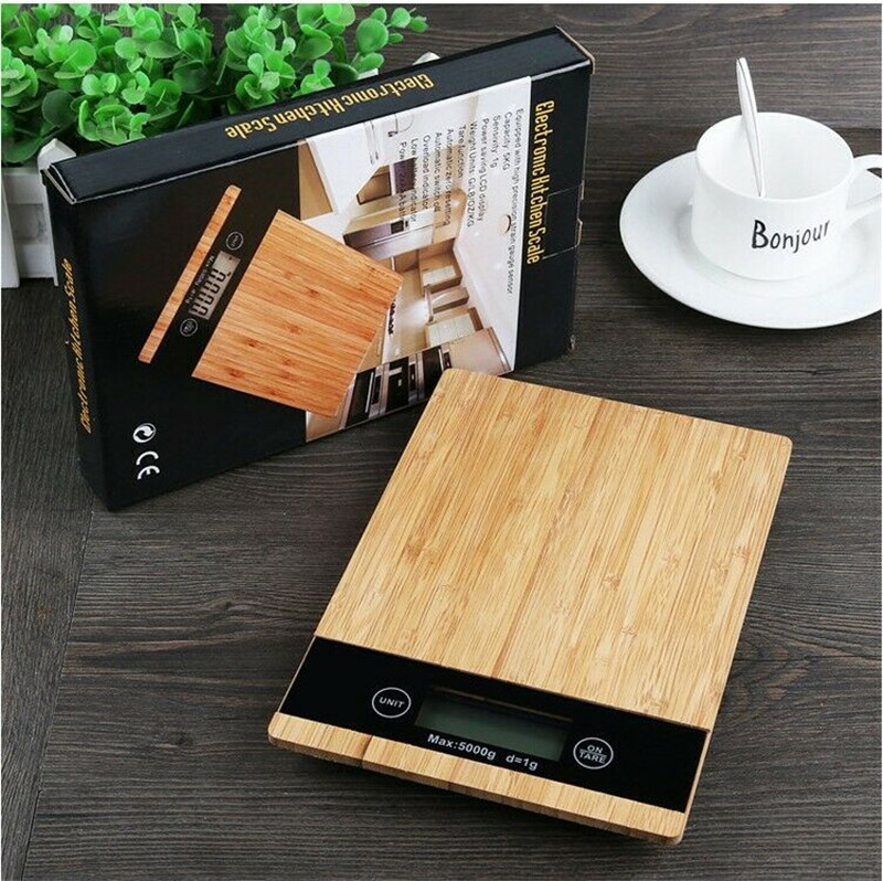 5Kg Wooden Kitchen Scale Electronic Food Weighing Scale Digital Measuring Gram Accurate Kitchen Cooking Food Weighing Scales