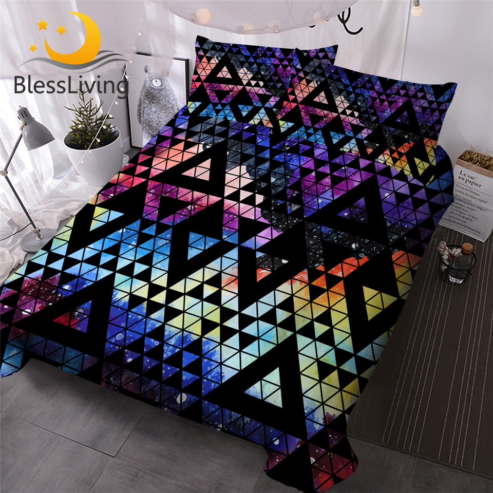 BlessLiving Colorful Bedding Set Geometric Comforter Cover Watercolor Galaxy Luxury Bed Set Waves Camouflage Home Textiles 3PCS