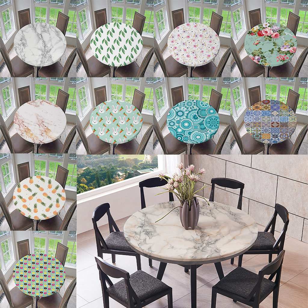 Waterproof Non-slip Round Elastic Table Cover Classic Pattern Table Cloth