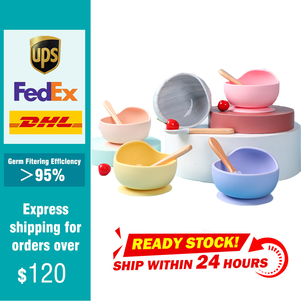 Silicone Child Feeding Plate Bowl Spoon Slip-Resistant Suction Gravity Bowl BPA Free Kids Dishes Food Dinnerware Tableware Sets