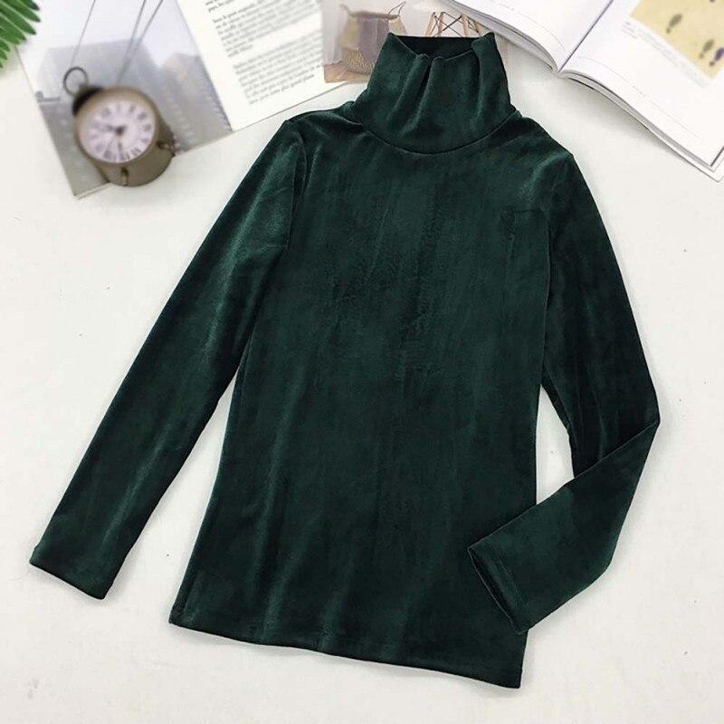 Женская водолазка, бархатная теплая футболка с длинным рукавом, облегающие топы, Женская Повседневная однотонная модная футболка на осень