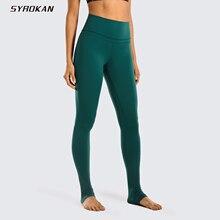 SYROKAN kadınlar çıplak duygu yüksek bel tanrıça ekstra uzun üzerinde topuk Yoga cep ile Legging 32 inç