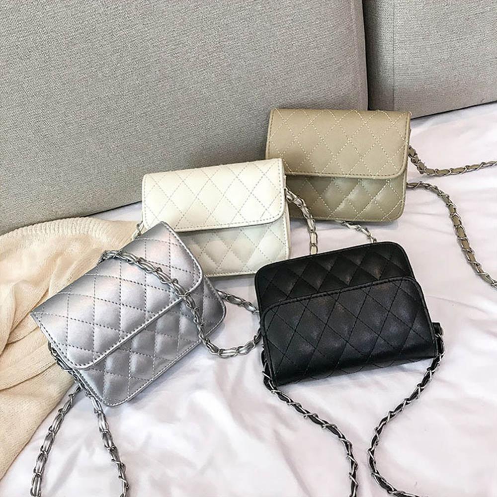 2019 New Women bag Women leather Handbags Fashion Plaid Chains Shoulder Bag Silver Crossbody bag for Women Bolsas Feminina