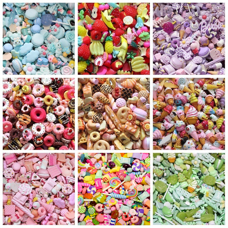 10pcs Resin Candy Charms For Slime Filler DIY Cake Ornament Phone Decoration Resin Charms Lizun Additions Slime Supplies Toys E