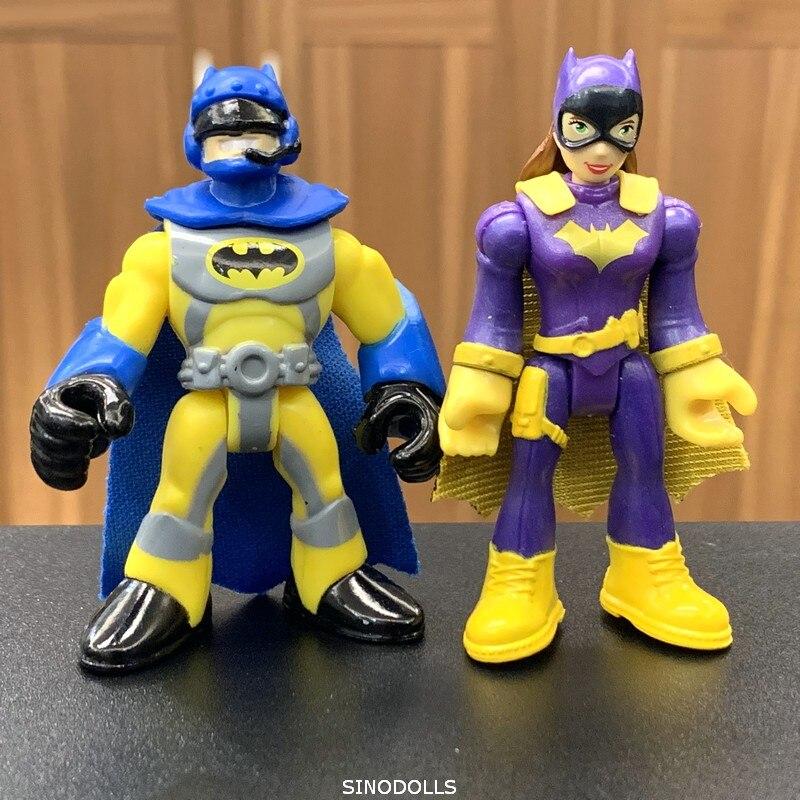 2PCS DC Super Action Figure DC Comics Fisher Heroes Batman & Bat Girl Toy Gift
