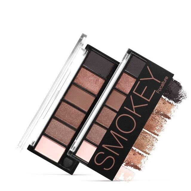 FOCALLURE 6 colors Smokey Matte Eyeshadow Palette Long lasting with Makeup Eye Shadow Brush