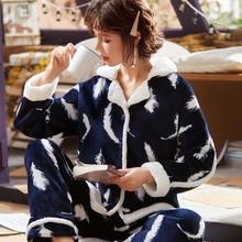 Winter Warm Flannel Women Pyjamas Sets Thick Coral Pijamas Women fleece