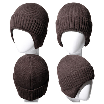Fashion Winter Hat Men Beanies Ear Protect Knitted Hat Outdoor Sports Skiiing Cycling Solid Hat Men Beanie Winter image