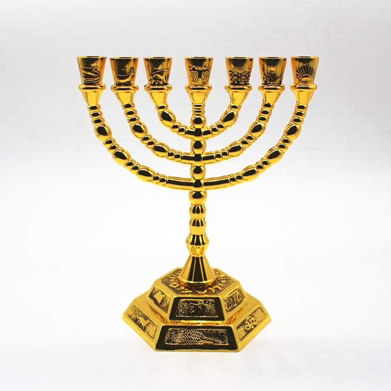Jewish Menorah Candle-holders Religions Hanukkah 7 Branch 12 Tribes Metal Candle Holder Israel