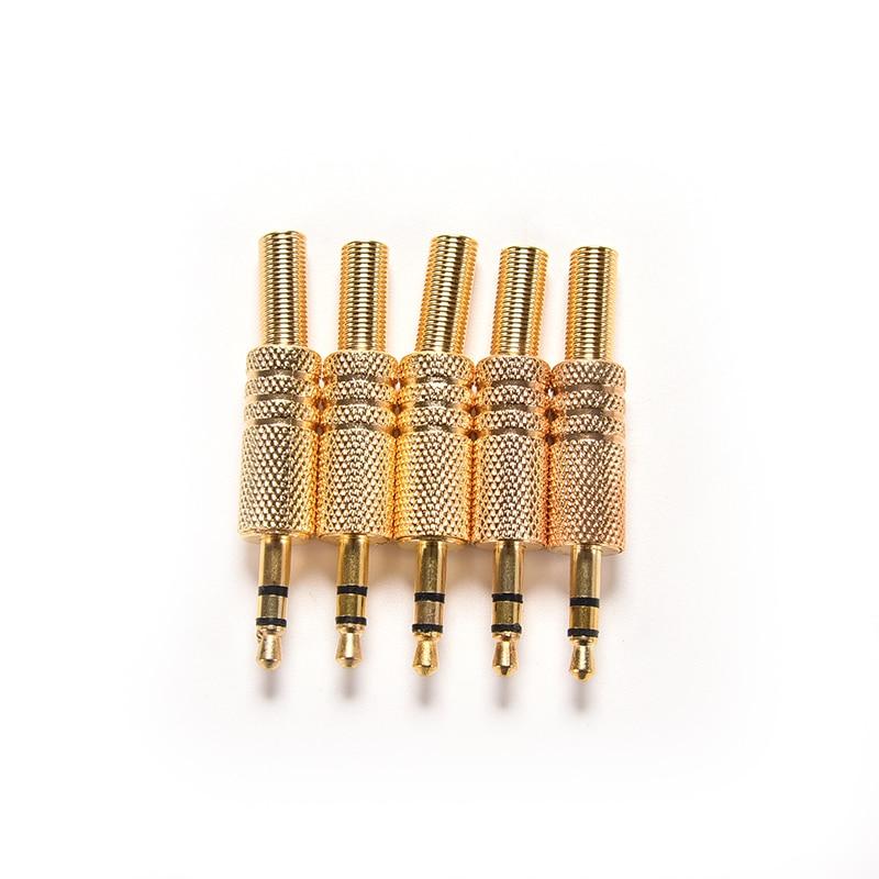 5pcs 3.5mm Stereo Audio Jack Plug Mini 1/8Inch Jack Plug Headphone Male Plug Coax Cable Audio Adapter Connecter Soldering
