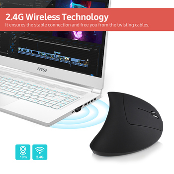 YWYT 2 4G bezprzewodowa mysz pionowa ergonomiczna mysz pionowa myszka pionowa mysz optyczna 3 regulowane poziomy DPI mysz Plug amp Play tanie i dobre opinie CN (pochodzenie) 2 4 ghz wireless 2400 Prawo 1 5V 20mA 800 1600 2400 8 million times