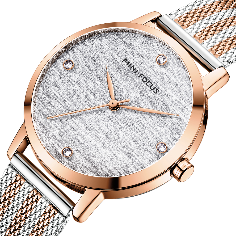 MINI FOCUS Women Watches Luxury Brand Fashion Casual Ladies Quartz Watch Rose Gold Mesh Steel Band Girl Reloj Mujer Montre Femme