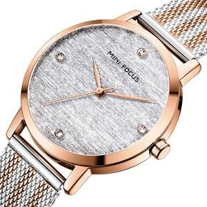 MINI FOCUS Women Watches Luxury Brand Fashion Casual Ladies Quartz Watch Rose Gold Mesh Steel Band Girl Reloj Mujer Montre Femme