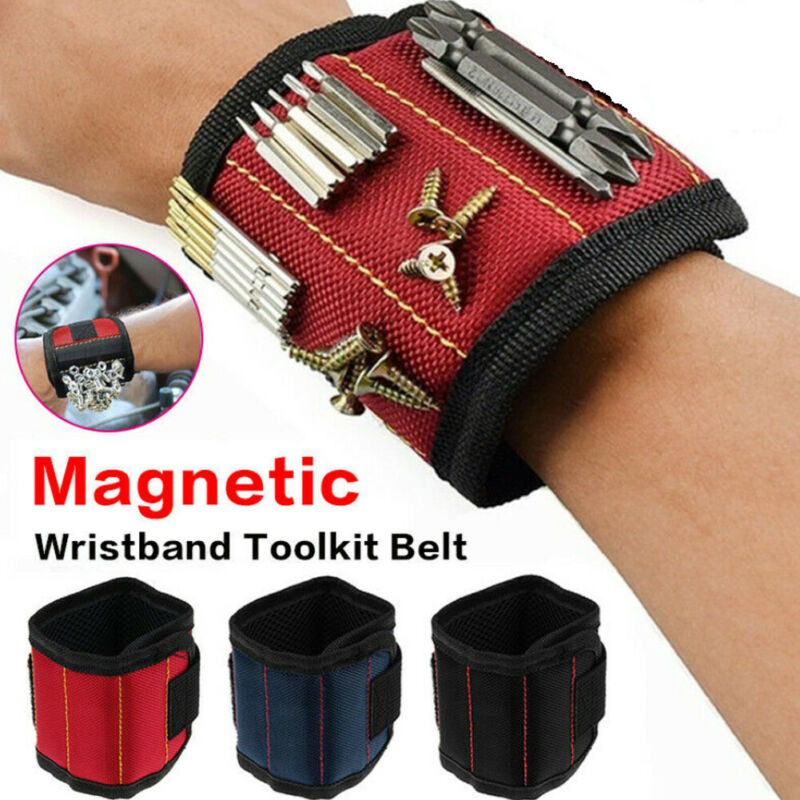 Two Styles Magnetic Wristband Embedded With Strong Magnets Adjustable Nylon Sticker Strap For Holding Screws Nail Drilling Bits