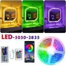 Tira conduzida luzes rgb 5050 2835 fita flexível infravermelha da lâmpada de bluetooth com diodo dc 12v 5m 10m 20m cores decoração para casa
