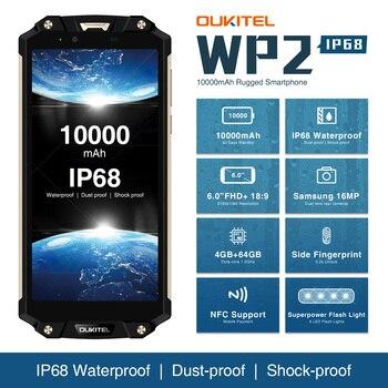 Перейти на Алиэкспресс и купить Водонепроницаемый мобильный телефон OUKITEL WP2, 4 Гб + 64 ГБ, MT6750T, Восьмиядерный, 6,0 дюйма, 18:9, 10000 мАч, сканер отпечатка пальца, разблокирован