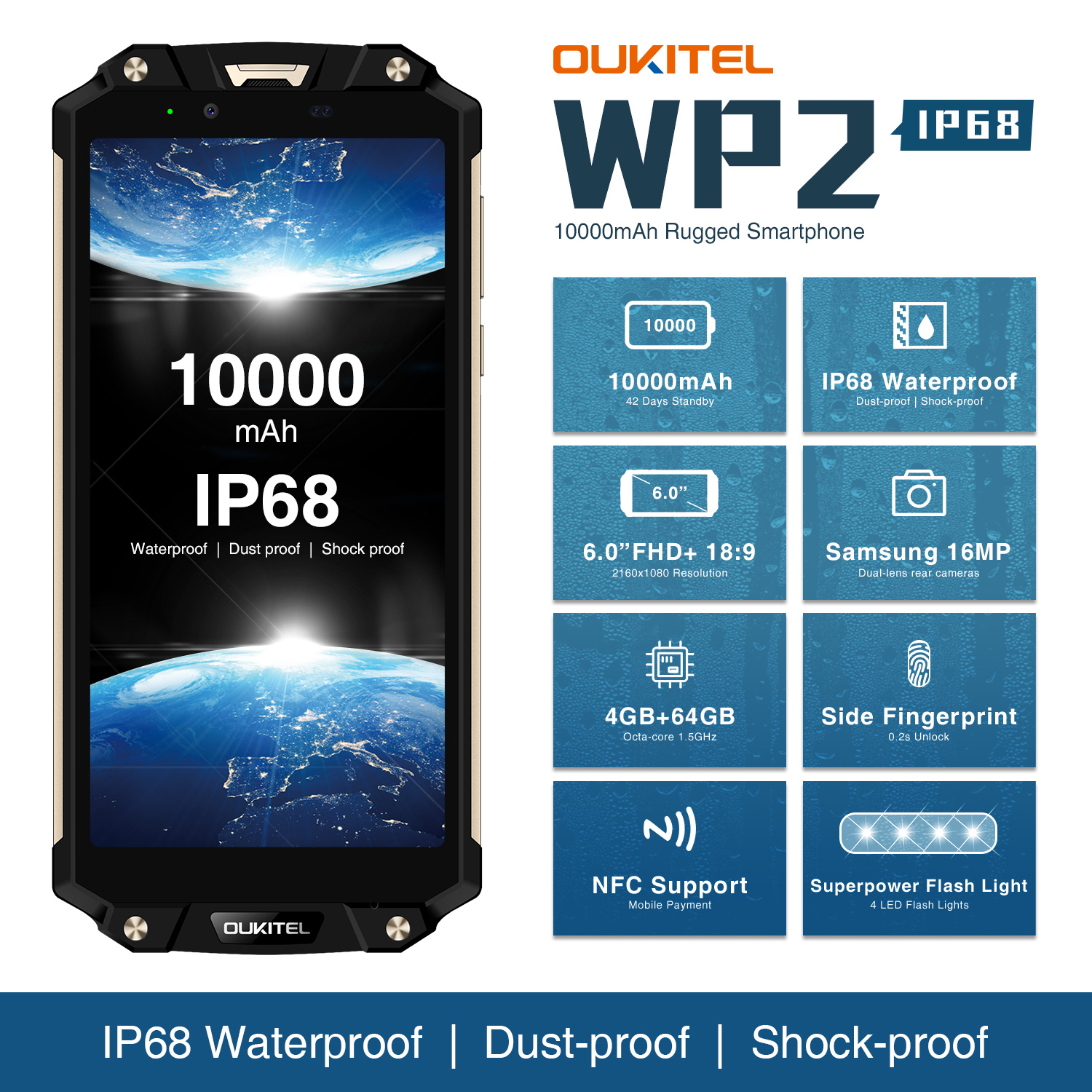 OUKITEL WP2 IP68 Waterproof MobilePhone 4GB 64GB MT6750T Cellphone Octa Core 6.0″ 18:9  Smartphone 10000mAh Fingerprint Unlocked