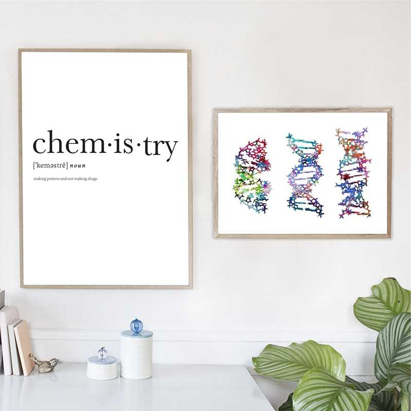 Colorful DNA Molecules Print Biology Room Decor Chemistry Definition Science Office Wall Art Canvas Painting Minimalist Poster