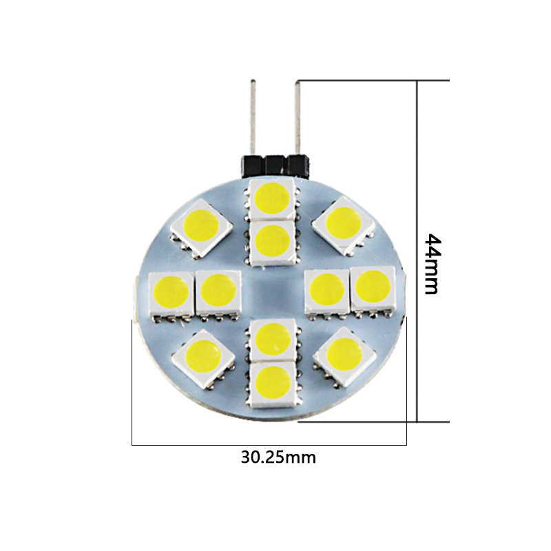 5 шт. Светодиодная лампа g4 12 В Круглая лампочка smd 5050 12 светодиодов 2 Вт 12 В вольт Замена галогенной лампы точечная энергосберегающая 200лм теплый белый