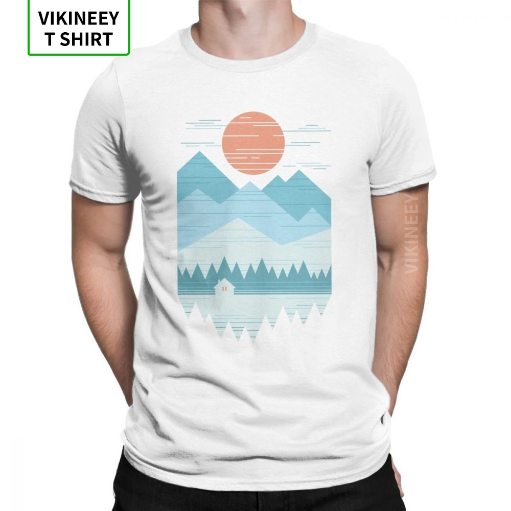 Cabin in The Snow <font><b>T</b></font>-<font><b>Shirt</b></font> Men Mountains <font><b>Wilderness</b></font> Hiking <font><b>T</b></font> <font><b>Shirt</b></font> Trekking Outdoors Camping Novelty Tees O-Neck Cotton Clothes image