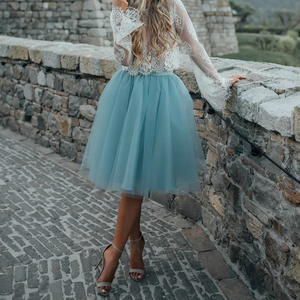 Image 4 - Falda de tul azul personalizada para Mujer, falda plisada Vintage, Midi, blanca, de Lolita, de jupe Secret