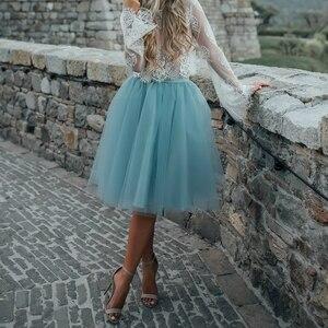 Image 4 - カスタムファッションブルーチュールスカートヴィ白プリーツスカートレディースロリータペチコートファルダ Mujer サイアペチコート秘密