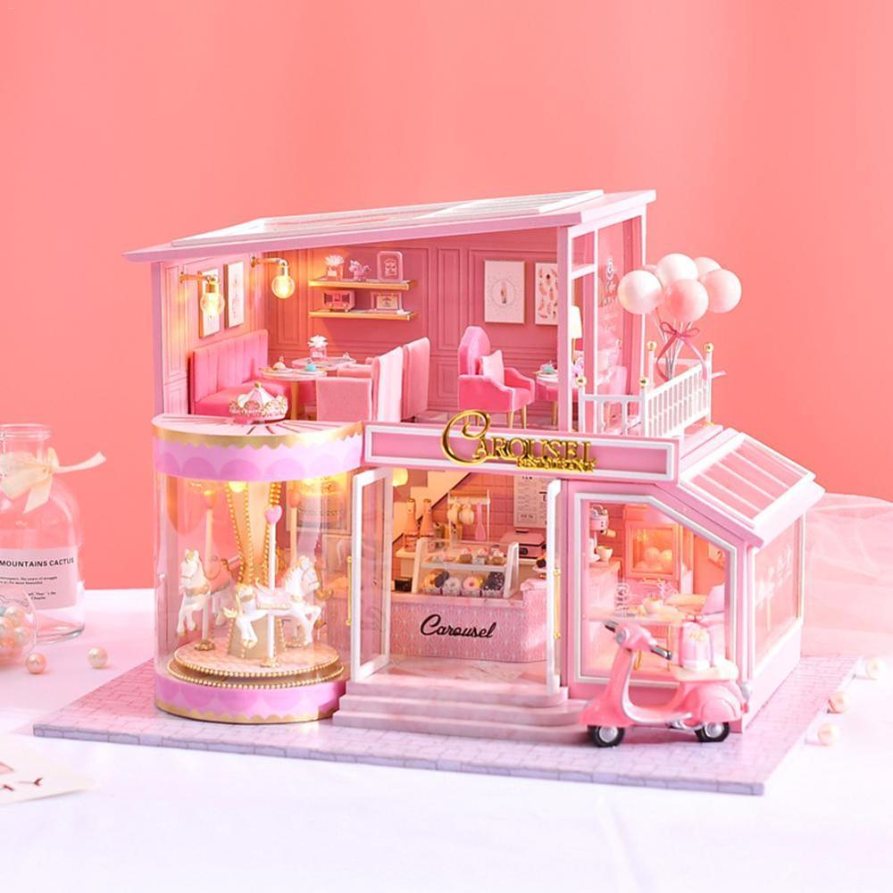 Children DIY Doll House Miniature Figurines Miniature Dollhouse Furniture Kit with Music Led Toys Fairy Garden House Decoration