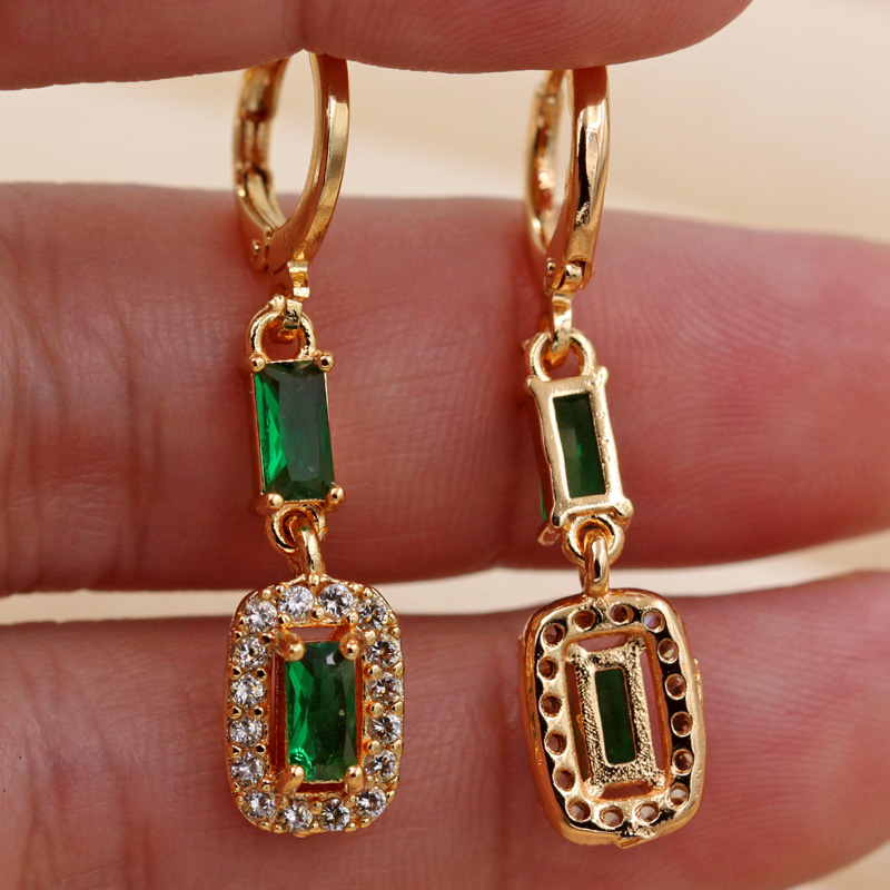 Hfc2c4d57f7ec4bdbb294a14780aef347X - Trendy Vintage Drop Earrings For Women Gold Filled  Red Green Pink Lavender Zircon Earrings Gold  Earring Wedding  Jewelry
