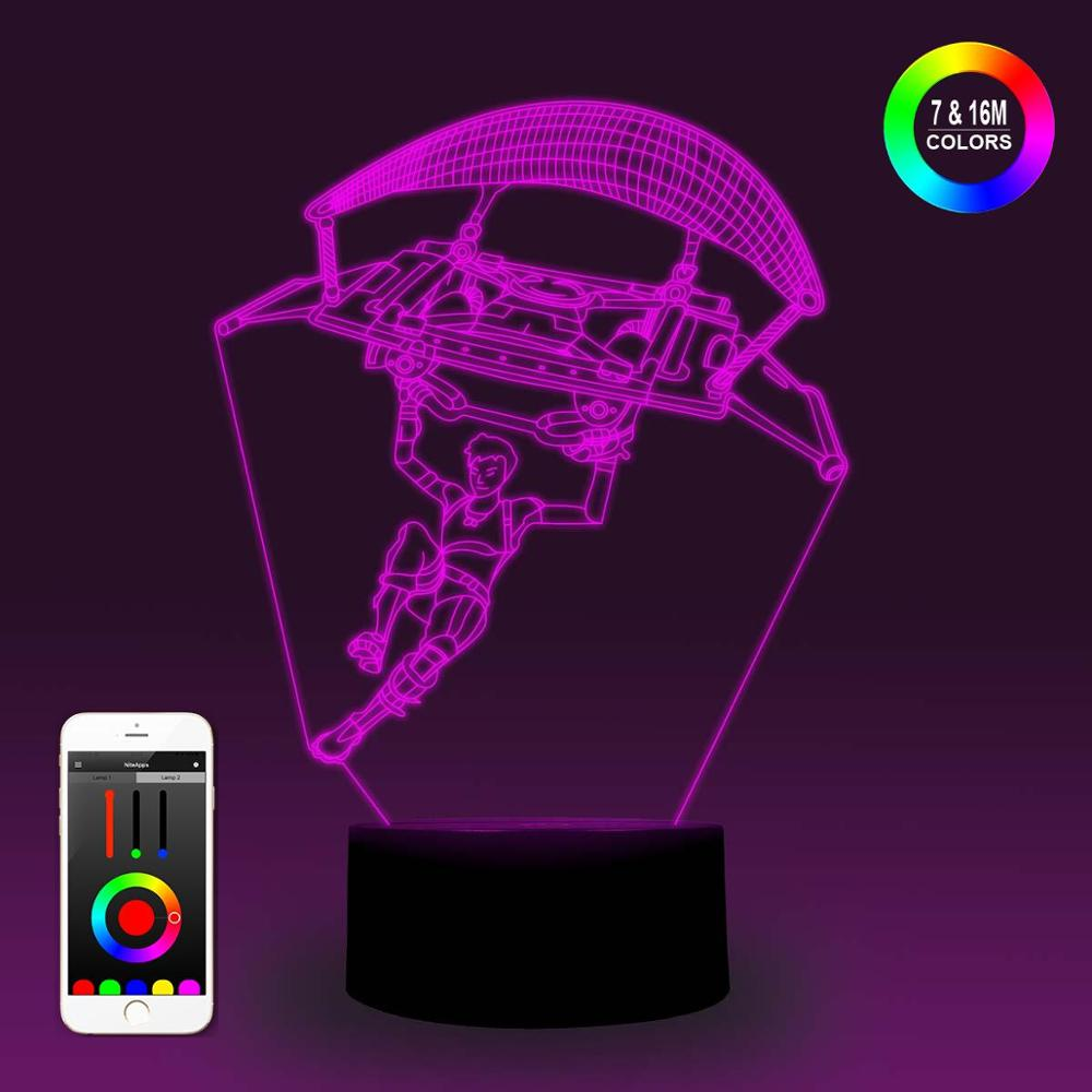NiteApps 3D Paragliding Fortnite Night Light Desk Table Illusion Decoration Lamp Holiday Birthday Gift APP/Touch Control
