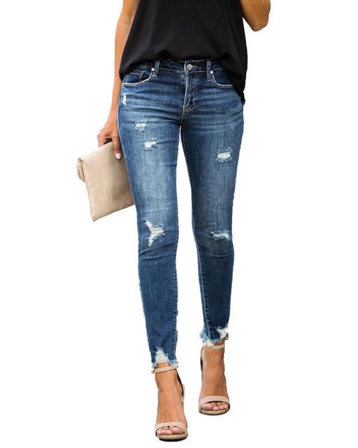 ใหม่กลางเอวกางเกงยีนส์Skinnyผู้หญิงVintage Distressed Denimกางเกงหลุมทำลายดินสอกางเกงขายาวกางเกงสบายๆฤดูร้อนRippedกางเกงยีนส์