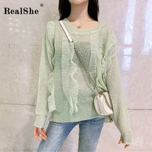 RealShe Blouse Women O Neck Long Sleeve Ruffles Solid Knitted Chiffon Casual Spring Autumn Womens Tops And Blouses