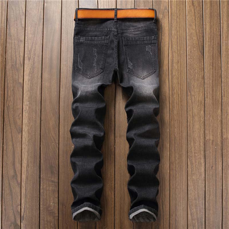 Mcikkny Fashion Men`s Hip Hop Ripped Jeans Pants Multi Zipper Patchwork Denim Trousers For Male Letter Embroidered (3)