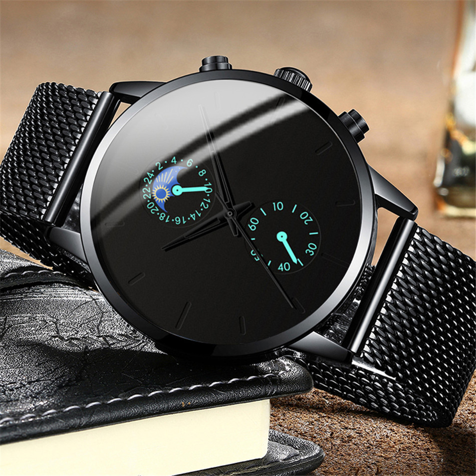 Hfc2c6a88aa484c34a45c9fa7dc71b40bu Fashion Mens Business Black Watches Luxury Stainless Steel leather Belt Watch Quartz Men Wrist Watch Relojes Hombre