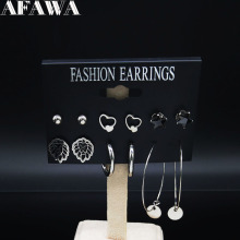 6 Pair 2019 Fashion Lion Stainless Steel Set Earring Mix for Women Silver Color Jewelry boucle doreille E612856