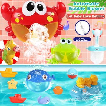 цена на Bubble Machine Bath Toy frog Gun Baby Gift Water Games Kids Baby Bubble Maker Pool Swimming Machine toys for bath rubber toys