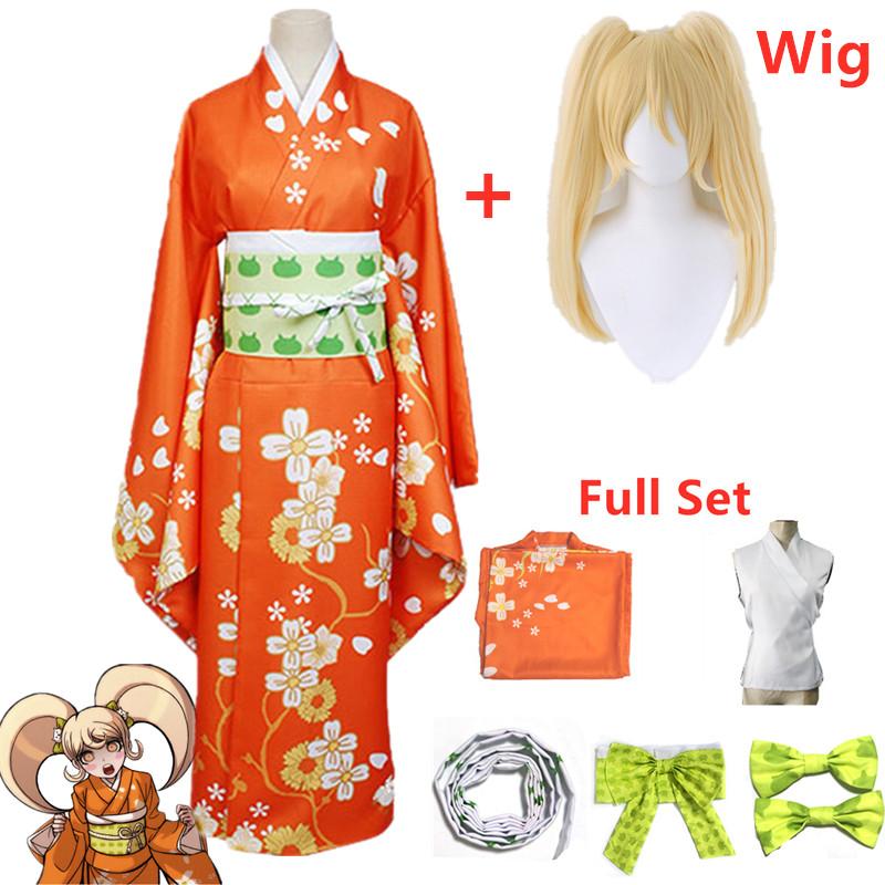 Anime Super Danganronpa 2 Hiyoko Saionji Kimono Cosplay Costume Adult Women Orange Dress Kimono Halloween Clothing Kostuums