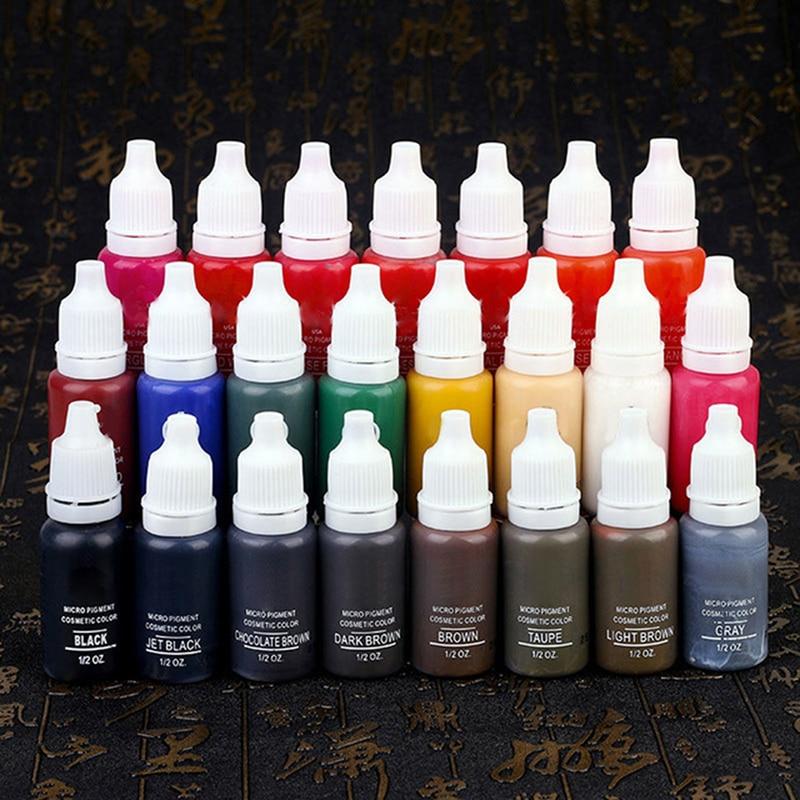 23Pcs Eyebrow&Eyeliner&Lip Permanent Makeup Tattoo Pigment Ink Brand MICROBLADING Pigment 15ml Tattoo Supply
