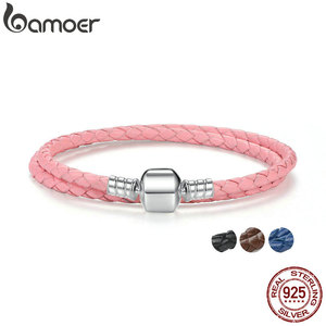 Женские браслеты из натуральной кожи BAMOER, с двойной плетеной цепочкой розового и черного цвета, из стерлингового серебра 925 пробы, с застежк...