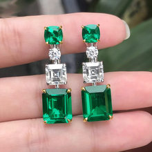 Women Fashion Luxury Square Green Crystal Pendant Earrings Plated Gold Silver Wedding CZ Earring Party Jewelry Accessories
