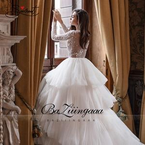 Image 4 - BAZIIINGAAA роскошное свадебное платье с длинным рукавом и v образным вырезом, гофрированное свадебное платье, свадебное платье, роскошное вышитое бисером платье для невесты