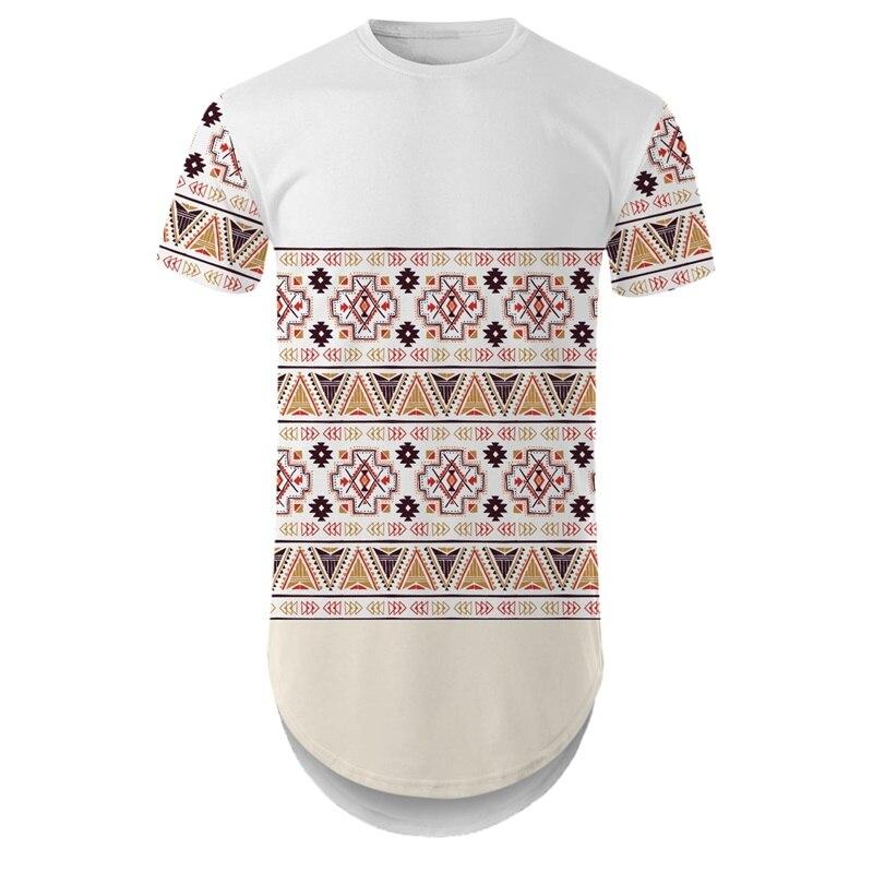 Мужская футболка с круглым подолом YOUTHUP, длинная уличная футболка с 3D традиционным рисунком, на лето