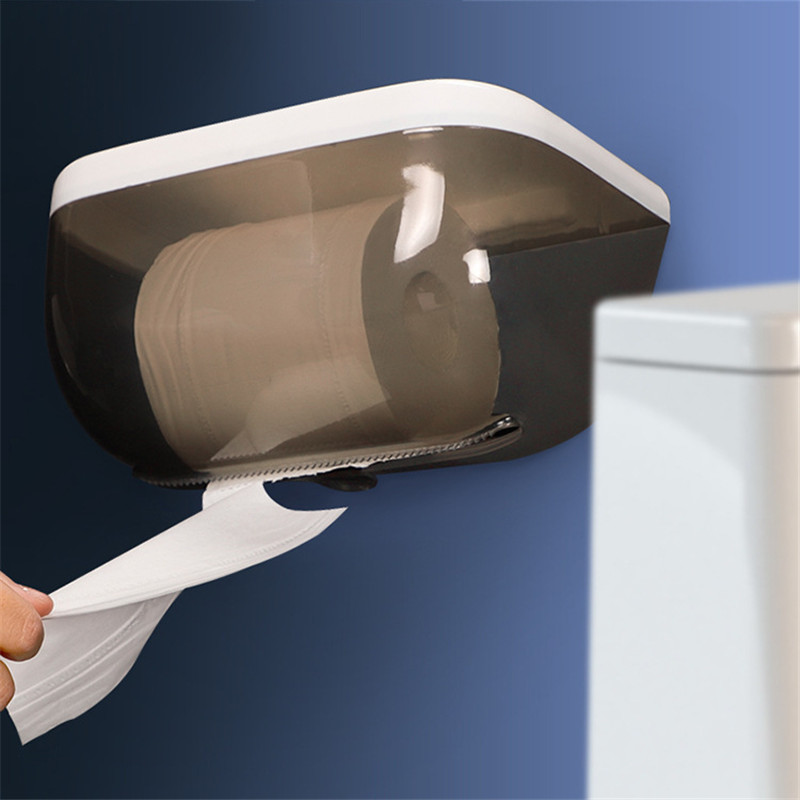 Toilet Paper Holder Plastic Bathroom Tissue Box Wall Mounted Roll Paper Shelf Storage Box Waterproof Toilet Paper Dispenser