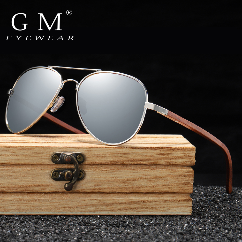 US $8.99 50% OFF|GM Classic Wood Sunglasses Pilot Metal Frame Wooden Sunglasses Men Metal Driving Luxury Shades UV400 gafas de sol mujer S2801|Men