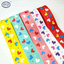 HL 5yards/package 1 Heart Grosgrain Ribbons Christmas Wedding Decorative DIY Crafts Making Hairbows  Gift Wrapping