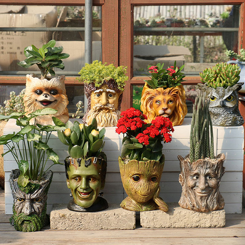 YeFine Resin Outdoor Flower Pot Big Planter Pots Cartoon Design Garden Succulent Bonsai Pots Balcony Decorations 5