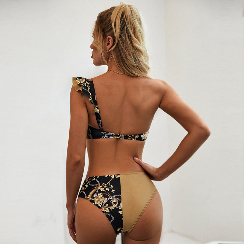 Peachtan Sexy high waist bikini 2020 One shoulder swimsuit female Ruffle bathing suit Retro floral print swimwear women bathers 4