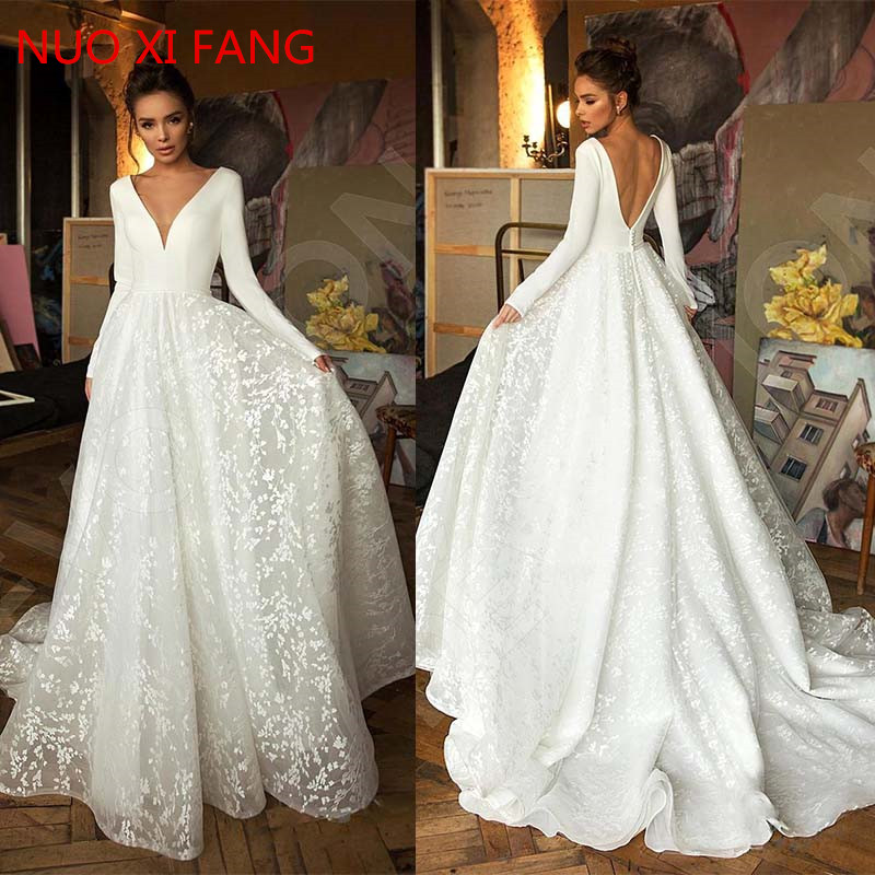 NUOXIFANG 2020 Robe De Mariee Vintage Long Sleeve Lace Satin Wedding Dress Sexy Deep V Neck Backless Bride Dress For Wedding