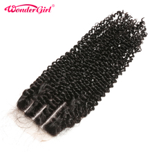 Lace Closure Remy-Hair Kinky Pre-Plucked Girl 100%Human-Hair Brazilian Wonder with No-Shedding