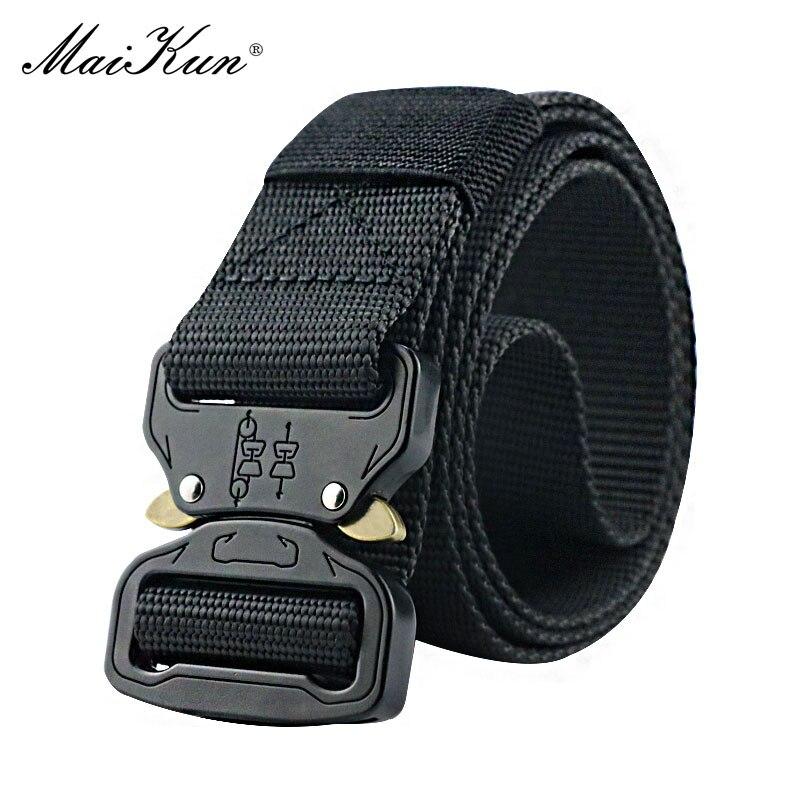 Maikun Military Equipment Combat Tactical   Belts   for Men US Army Training Nylon Metal Buckle Waist   Belt   Outdoor Hunting Waistband
